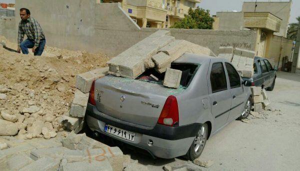 خاک برداری در شهر جم(خیابان بهارستان) منجر به حادثه شد