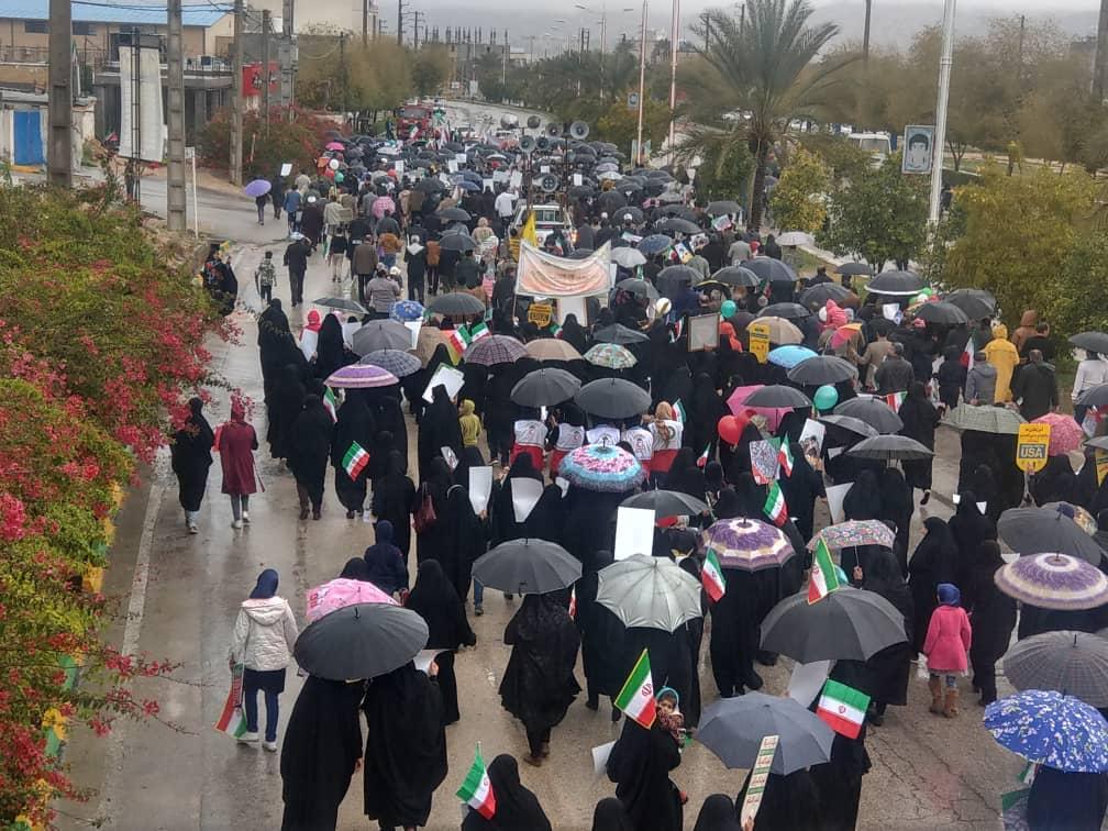 حضور مردم شهر جم در راهپیمایی ۲۲ بهمن ۹۷