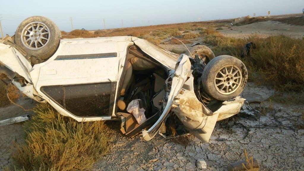 ۲ کشته و ۴ مصدوم در تصادف جاده بوشهر-گناوه +عکس