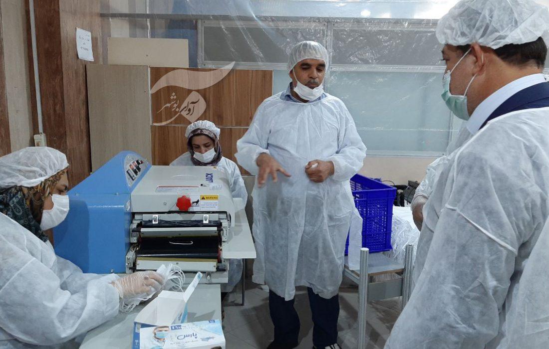 اولین و تنها کارگاه تولید ماسک سه لایه جراحی استان در جم به بهره برداری رسید+تصاویر